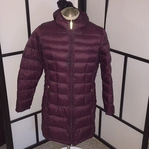 Michael Kors 3/4 Puffer Coat Size Large Burgundy